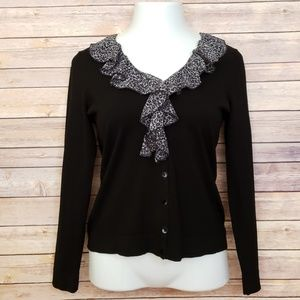 AUGUST SILK BLACK V NECK RUFFLE SWEATER MEDIUM